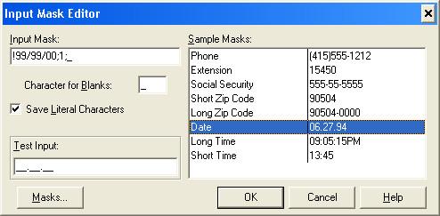 Вид редактора Input Mask